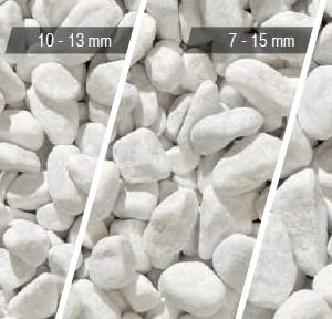 Белая галька Карра существует в разных размерах