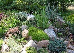 Украшение сада итальянским камнем и галькой