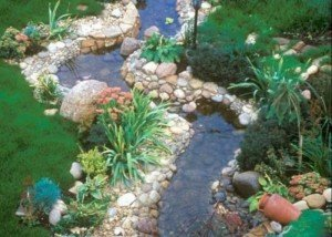 Декор реки полированной галькой