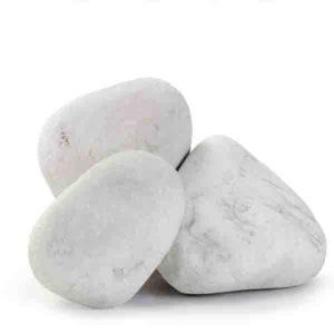 Мраморная галька Белая Каррара