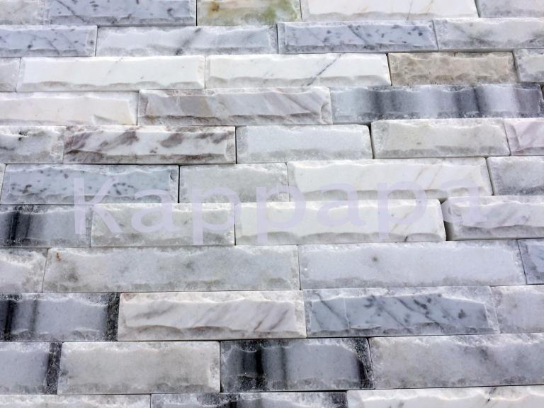 Облицовочный камень, Белый микс рустованный